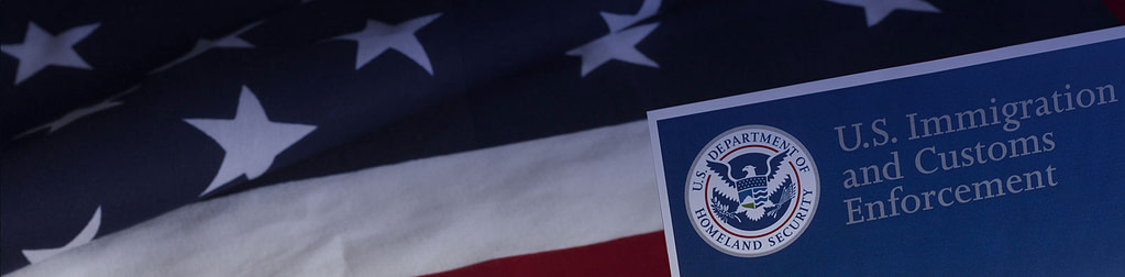 American flag with U.S. DHS Department Document header over it